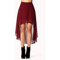 High-Low Chiffon Skirt ($9.99) ❤ liked on Polyvore featuring skirts, bottoms, red, saias, forever 21, high low skirt, red skirt, short in front long in back skirt and chiffon skirt