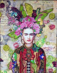 Mosaics by carrie - Contemporary Art, Abstract Art, Fine Art America Frida Kahlo collage art painting by Carrie Eckert Art Du Collage, Collage Artists, Pop Art, Fine Art Amerika, Frida Art, Frida Kahlo Artwork, Frida Kahlo Portraits, Ouvrages D'art, Art Sketchbook