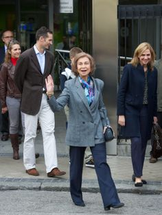 Family rally round King Juan Carlos as he recovers in hospital  Queen Sofia of Spain with daugthers: Princesa/Infanta Elena (In the Back) Princess/Infanta Cristina (beside The Queen) & Cristina's husband Duke of Palma Iñaki Urdangarin. 2012.