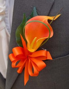 orange calla lily | Orange Calla Lily Wedding Buttonhole for a Groom Bestman or Ushers