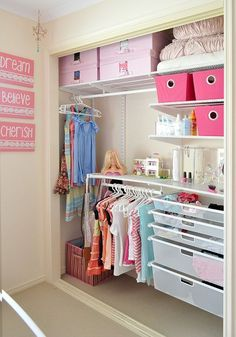 Cute makeover of a tween girls closet. Though we have a feeling that she probably hung many more outfits on those closet poles once the camera was turned off!