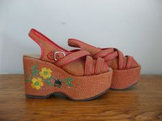 Vintage 1960s Wedges 60s Platform by CreatedAndCollected on Etsy, $148.00