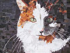 torn magazine art | Recycled Magazine art of a cat- Photo and art by Deborah Shapiro