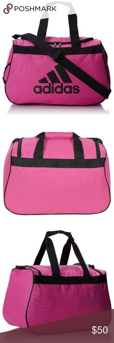 "PINK Adidas Duffle Gym Bag PRICE FIRM. THESE ARE MY BESTSELLERS. CHECK OUT THE OTHER ONES IVE SOLD.❌I DELETE ITEMS EVERYDAY ❌  ❌PRICE FIRM ❌  THESE SELL QUICK ❗️ NEW ADIDAS BLACK DUFFLE BAG  FITS IN GYM LOCKER 18.5"" ×11"" ×10"" ADJUSTABLE SHOULDER STRAP  PADDED HAUL HANDLE  NO FREE SHIPPING  NO HOLDS  ❌BUNDLE TO SAVE: ONLY DISCOUNT ON SHIPPING! ❌  Black Adidas duffle sport bag gym outdoors gym apparel socks basketball soccer softball tennis volleyball adidas Bags Shoulder Bags"