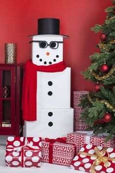The Snowman: Wrap three increasingly bigger gifts in white paper, stack them from biggest to smallest and then decorate them to look like a snowman.