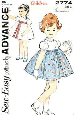 Advance Pattern 2774 Vintage Sew Easy Darling Girls Dress! Complete Size 6