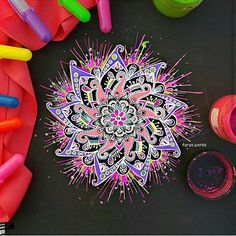 "2,630 Likes, 11 Comments - Sharing Beautiful artwork! (@zentanglekiwi) on Instagram: ""Mandala NEON De @forat.works  . . . #arte #artist #draw #drawing #zen #zentangleworld #zentangle…"""