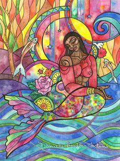 """To See Myself"" #Black #mermaid painting by Danielle Boodoo-Fortuné #mixedmedia, #watercolor, #illustration #blackmermaids #yemaya"
