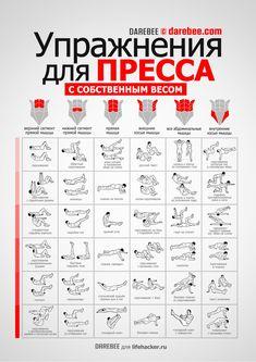 ИНФОГРАФИКА: 36 упражнений для пресса - Лайфхакер