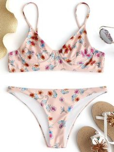 Wildflower Underwire Bikini Set - Pinkbeige M