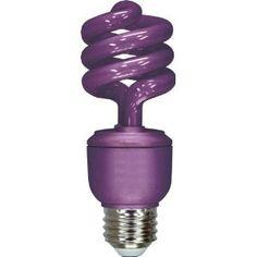 Purple light bulbs? Count us in! GE 78957 Energy Smart 13-Watt Spiral Compact Fluorescent Bulb, Purple