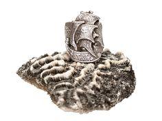 Spanish Galleon Ring on Brain Coral www.silverella.nyc #spanishgalleonring #silverella #pirateprincess #braincoral #nauticaljewelry #braincoral #coral