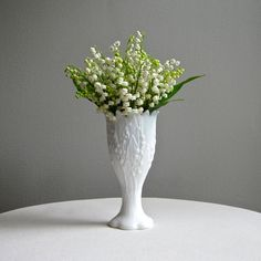 Lilies of the Valley Milk Glass Vase by Westmoreland White Lily Vase 1960s