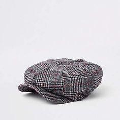 2031f63ab41 River Island Grey check baker boy cap