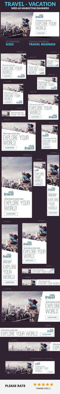 Travel - Vacation Web Ad Marketing Banner by webduck, via Behance