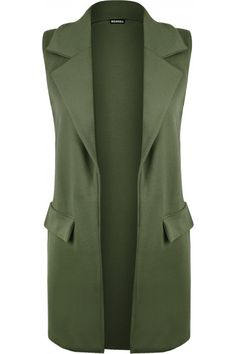 Wrap up yourself with this sleeveless faux pocket waistcoat. Featuring a beautiful textured crepe fabric and belt, this sleeveless waistcoat is to wear open. Khaki Vest, Blazer Vest, Plus Size Vests, Green Vest, Khaki Green, Long Vests, Mode Hijab, Lookbook, Hijab Fashion