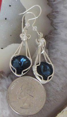 Montana Blue Wire Wrapped Swarovski Rivoli Earrings by TakeCourageDesigns on Etsy