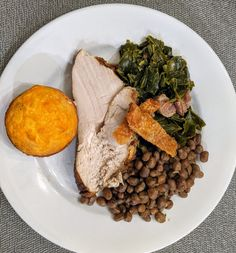 """Southern New Years Day – """"Smoked"""" Sous Vide Turkey, Field Peas, Sweet and Spicy Collard Greens, Crispy Turkey Skin Chips with Jalapeno Cheddar Cheese Cornbread Jalapeno Cheddar, Cheddar Cheese, Smoked Turkey, Collard Greens, Sous Vide, Black Eyed Peas, Sweet And Spicy, Cornbread, Great Recipes"""