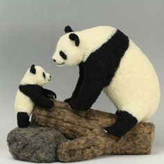 Needle felted Pandas by K A J I, via Flickr