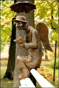 """कम नहीं मेरी ज़िंदगी के लियें चैन मिल जाये दो घड़ी के लियें                    ..फ़ैयाज़ हाशमी  """"Angel of St. Petersburg"""",  2012 Sculpture by Roman Shustrov, Russian   Angel represent the people, who fought in WW2, Completely traumatized, henceforth looking for peace only."""