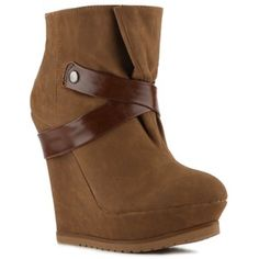 Qupid Wedge Bootie-CAMEL