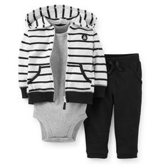 Carter's Boys 3 Piece Black/White Striped Zip Up Hoodie, Grey Short Sleeve Bodysuit, and Pant Set Outfits Niños, Kids Outfits, Baby Outfits, Carters Baby Boys, Toddler Boys, Baby Boy Fashion, Kids Fashion, Baby Swag, Baby Kids Clothes