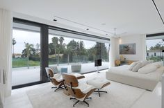Living Room | Linen Sofas and Mid-Century Modern Chairs