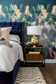A collaboration between L&G and Cara Loren, the Midnight Tropic Wallpaper Mural is inspired by sultry summer nights. The lush leaf pattern is permanent vacation vibes for your home.