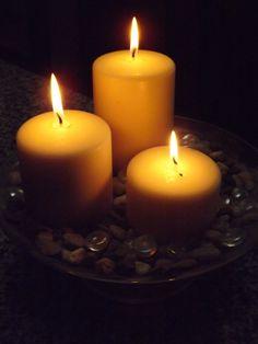 3 lit candles