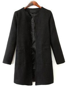 Mantel mit Taschen, schwarz