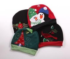 Christmas Sweater Hats made from re-engineered Christmas sweaters. Each is completely unique. Made in the USA! http://www.green3apparel.com/accessories/hats/christmas-sweater-hat/ $28