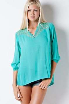 Lace Holly Top in Teal Jade