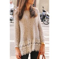 Elegant Solid Color Hollow Out Lace Spliced Long Sleeve T-Shirt For Women