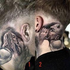 Evil Tattoos, Gangster Tattoos, Scary Tattoos, Boy Tattoos, Head Tattoos, Side Tattoos, Body Art Tattoos, Small Neck Tattoos, Side Neck Tattoo