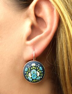 Floral Earrings with Polymer Clay Floral Embroidery от KittenUmka