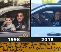 This Father's Day, Officer Gould squeezed into a patrol car to recreate a photo with his now son, a fellow law enforcement… Police Memes, Funny Police, Police Quotes, Police Cops, Police Life, Cool Pictures, Funny Pictures, Funny Memes, Hilarious