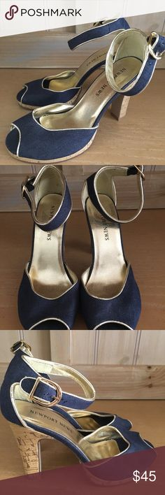 Newport News new heels size 6 Fabulous blue jean material uppers with gold interior. These are new without the box. Little peep toes with enclosed heel...perfect for Spring. Newport News Shoes Heels