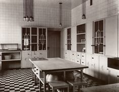 Kitchen designed by Josef Hoffmann at the Palais Stoclet