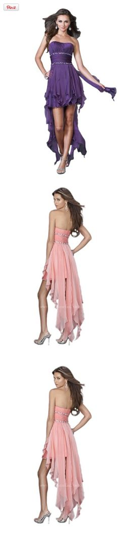 La Femme 15087, High Low Dress, Amazing high low dress with corset bodice and beaded waistband. The ruffle shredded skirt is short in the front and long in the back., #Apparel, #Special Occasion