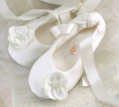 Bridal Flats Bridal Ballerina Slippers in Ivory by SolBijou, $115.00