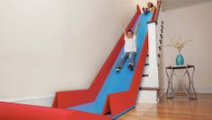 SlideRider: a foldable slide that you can place over your stairs. OMG! Wish this was around when my guys were little!