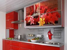 Modern Kitchen Tiles, Creativity and Originality in Kitchen Design Modern Kitchen Tiles, Modern Kitchen Design, Modern Interior Design, Cute Home Decor, Unique Home Decor, Home Decor Styles, Glass Kitchen Cabinets, Kitchen Cabinet Design, Red Cabinets