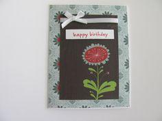 Flower Birthday Card Teal Red Brown Happy by SassyScrapsCrafts, $3.50