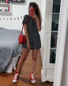 End Friday=> This thing For Tshirt Women seems to be 100 % wonderful, will hav… – Holidays Red Converse Outfit, High Top Converse Outfits, Red Chucks, Dress With Converse, White Converse, Cute Summer Outfits, Spring Outfits, Trendy Outfits, Girl Outfits