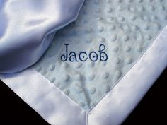 Personalized Baby Blanket = would be cute in Cuddle Dimple and Silky Satin! http://www.theartzoo.com/personalized-satin-baby-blanket/