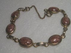 Vintage 1960's Gold Stone Bezel-Set 8 Bracelet by stampshopgirl