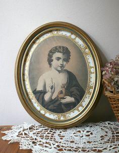 Vintage Framed Print of Infant Jesus of Prague oval gold religious orb cross Vintage Frames, Vintage Silver, Infant Of Prague, Miniature Portraits, Oval Frame, Baby Jesus, I Shop, Miniatures, Framed Prints