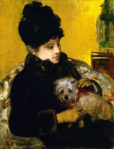 A Visitor in Hat and Coat Holding a Maltese Dog Mary Cassatt (1879)