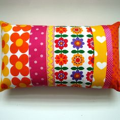 Bright Vintage Mod Flowers Patchwork Cushion / Pillow Cover