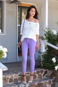Purple jeans comfy white sweater Purple Jeans Outfit 81d205e82